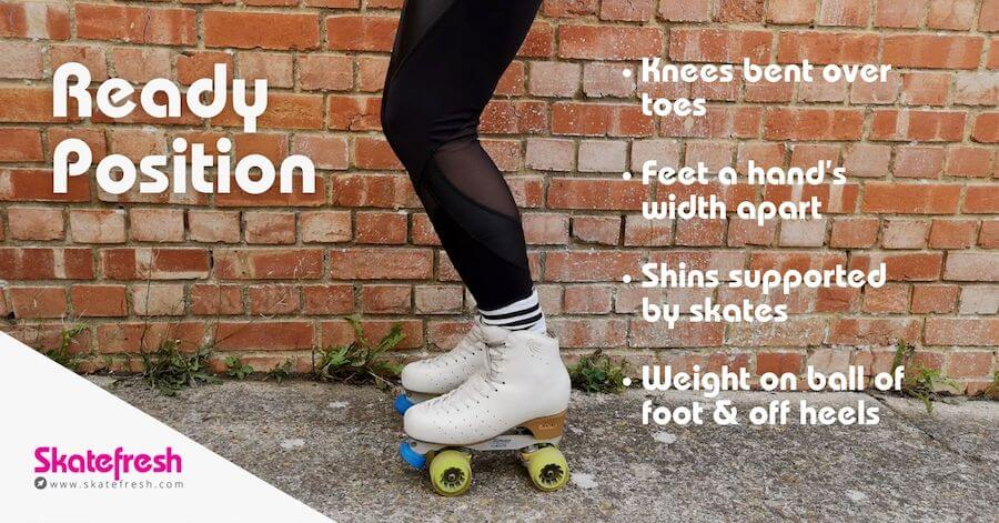 Ready position for rollerskating beginners