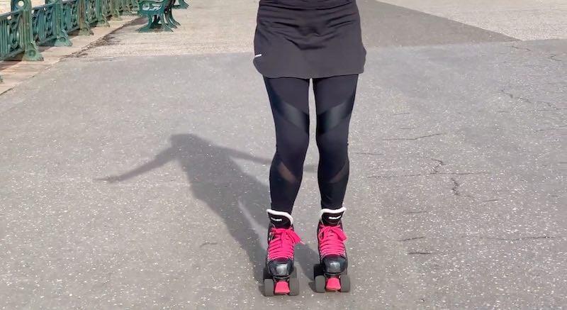 Beginner rollerskating ready position